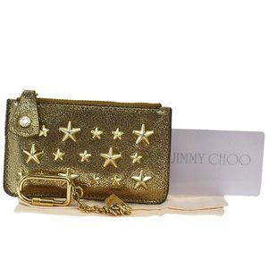Jimmy Choo Star-shaped Studs Leather Coin Purse/c